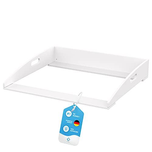 FLIPLINE Wickelaufsatz Hemnes HappyBaby weiß [85x75x13cm] für IKEA Hemnes Kommode - INKL. 2-Stufen-Sicherheit an Wand und Kommode - Wickeltischaufsatz 100% sicher