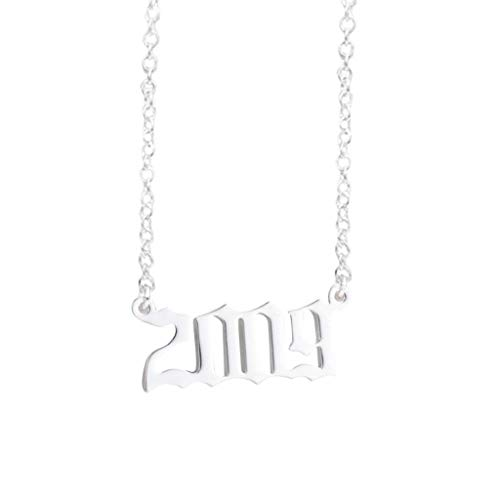 Yowablo Halskette 1990-2019 Pendan Geburtstagsgeschenk Personalisierte Kragen Jahre Nummer (3J)