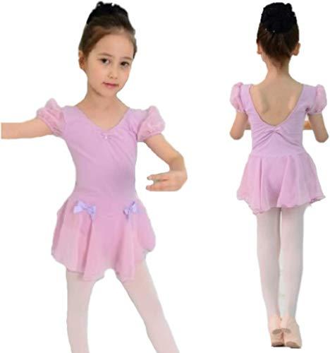 バレエ パフスリーブ レオタード 子供 スカートつき キラキララインストーン付き 半袖 (ラベンダー, 11サイズ)
