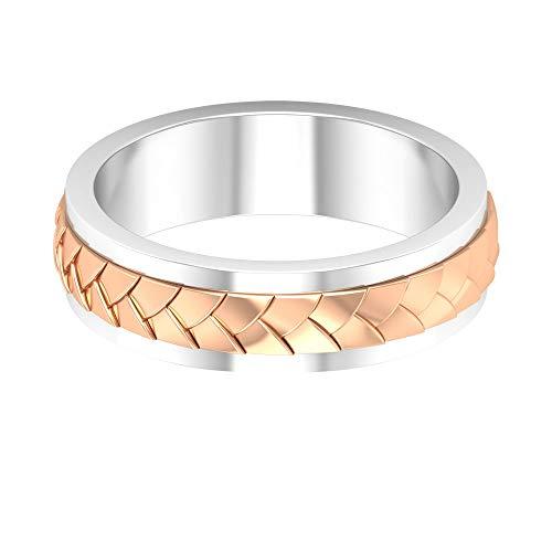 Fede nuziale in metallo misto, con incisione in oro anticato, anello di fidanzamento da uomo, anello di anniversario per lui, anello padre, anello per sposi, 10K Oro rosa, Size:EU 45