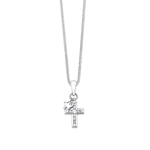 S.Oliver children's necklace with cross and star pendant, 925 sterling silver, rhodium plated zirconia, 37 + 3 cm, white