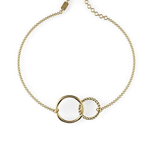 Belle Queen 'Basic Collection' - Conjunto de Dos Círculos Entrelazado y Liso de Plata de de Ley Bañado en Oro 24k
