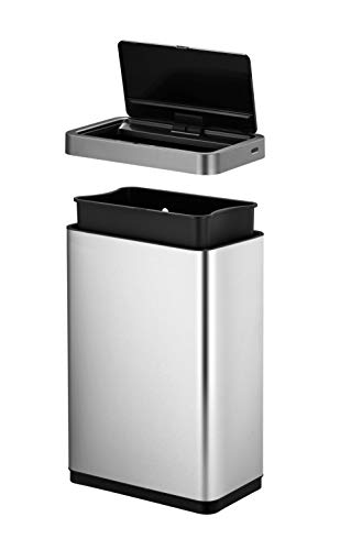 EKO Mirage-X 47 Liter / 12.4 Gallon Touchless Rectangular Motion Sensor Trash Can with Removable Liner, Brushed Stainless Steel Finish