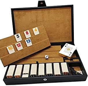 CREATIVATE Rummy Curpiel de Super Lujo Juego de Estrategia con Poker y Dado Porta FICHAS DE Madera