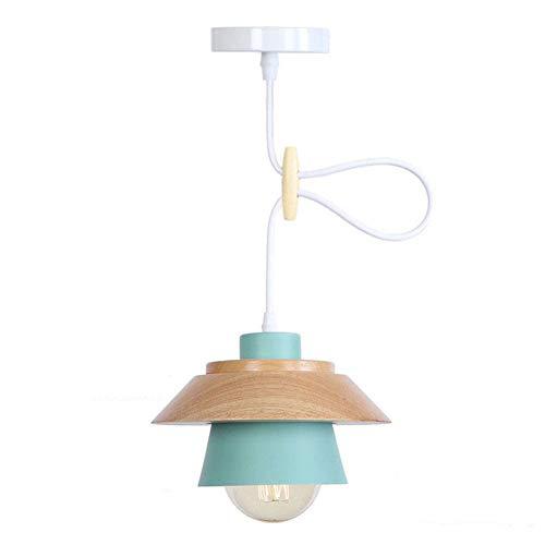 Lámpara colgante industrial de metal vintage Pantalla de hierro rústico Luces colgantes de techo de madera Lámpara de techo Lámpara de cocina Lámpara colgante de suspensión E27,Azul,umbrella