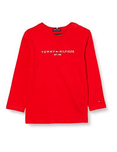 Tommy Hilfiger Jungen Essential Tee L/s Hemd, Deep Crimson, 92