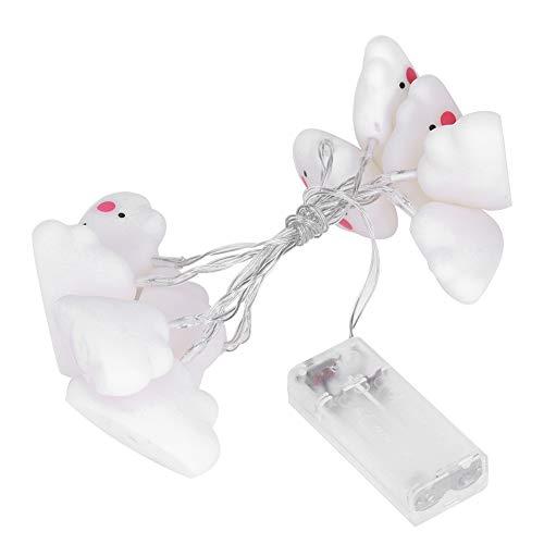 zcyg Cadena de luz, 10 luces LED lindas en forma de nube, lámpara decorativa para fiestas de Navidad, decoración (blanco cálido)