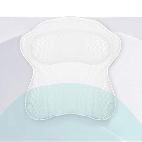 Yimobra Luxurious Spa Bath Pillows for Head Shoulder Neck Support, Bathtub Cushion with Suction Cup, Spa Pillow for Soaking Hot Tub, Comfort, Machine Washable, Quick Dry, Bath Accessories, 17x16 Inch