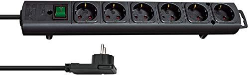 Brennenstuhl Comfort-Line Plus, Steckdosenleiste 6-fach (mit Flachstecker, Schalter, 2m Kabel und extra breite Abstände der Steckdosen) schwarz