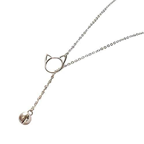 CKAWM Halskette Einfacher Schmuck Silberfarbe Schmuck Nette Katzenglocke Persönlichkeit Weibliche Geschenkkette