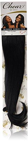 chear européenne soyeuse droite trame Extension de cheveux humains avec de mélange tissage Nombre 1, Jet noir 35,5 cm