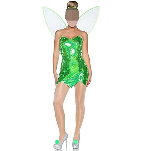 Madger Disfraz de hada de Halloween para mujer, disfraz de campana, disfraz de lujo con alas para fiestas y adultos, verde oscuro, L