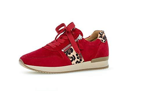 Gabor Damen Sneaker, Frauen Low-Top Sneaker,Best Fitting,Reißverschluss,Optifit- Wechselfußbett, 38 EU, Rubin Natur Rot
