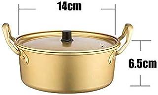 Yqs Olla de Aluminio Coreana para Fideos Instantánea 1pc de Corea del Ramen del Amarillo de Aluminio crisol de la Sopa Fideos Pot Bowl por maneta Doble Olla a Gas for Estufas (Color : 14cm)