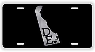 JMM Industries Delaware State Love DE ♥ Vanity Novelty License Plate Tag Metal 12-Inches by 6-Inches Etched Aluminum UV Resistant ELP048