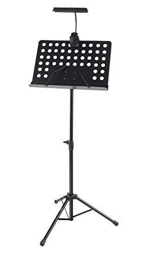 McGrey Orchesterpult Set mit Premium LED-Leuchte (höhenverstellbarer Notenständer inkl. LED-Notenpultleuchte) Schwarz