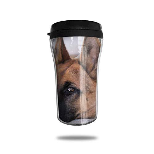 Taza de café de viaje de pastor alemán, taza de vacío portátil impresa en 3D, taza de té aislada, botella de agua, vasos para beber con tapa, 8.54 oz (250 ml)