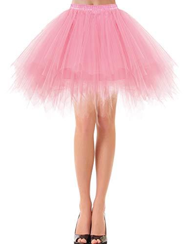 Bbonlinedress Petticoat Tutu Tüllrock Unterrock Rock 50er Vintage Ballet Blase Tanzrock Tanzkleid Ballkleid Kurz Retro Light Coral XL