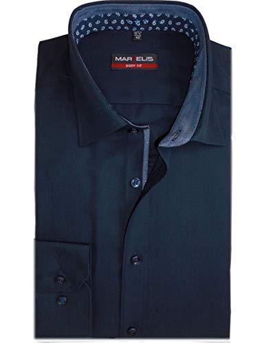 Marvelis Body Fit Extra Langer Arm 69cm bügelleicht mit Besatz Reine Baumwolle, Größe:41, Farbe:dunkelblau
