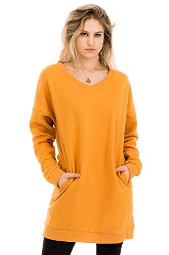 NANAVA Damen-Sweatshirt, lockere Passform, Lange Ärmel, Übergröße - Gold - 3X