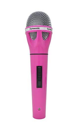 DYNASONIC Micrófono conectable para karaoke y adaptador (Rosa Fuerte)