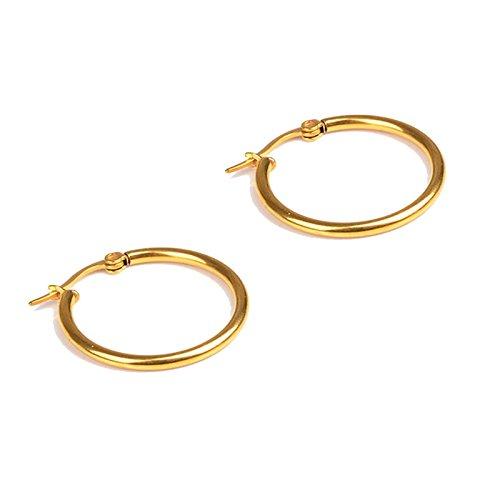 Beydodo Pendientes 2PCS Pendientes Oro Pendientes Acero Inoxidable Pendientes de Hombre Mujer Pendientes de Aro Pendientes 2MM x 25MM
