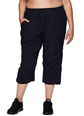 RBX Active Women's Plus Size Fashion Lightweight Woven Body Skimming Drawstring Capri Pant with Pockets Navy 2X