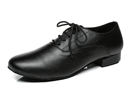 MINITOO jf250501bequemer Herren Leder Ballsaal Latein Tanzschuhe, Schwarz (Leather-Black), 40
