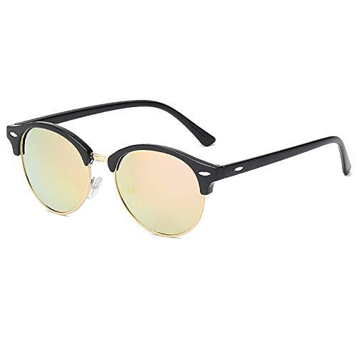 QFSLR Gafas de sol, Clásico redondo medio marco gafas de sol de los hombres, protección UV400, HD polarizado gafas de sol de las mujeres,F