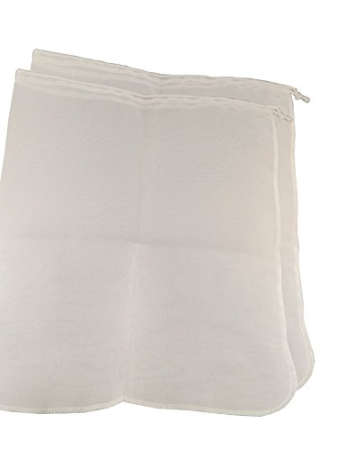 Spot on Products Reusable Fine Mesh Filter Bags. 2 Pack Breathable Washable Hygienic Nylon with Draw Strings. Best for Straining, Nut Milk , Brewing Needs. Complete with Label Stickers 12 x 14 Inch