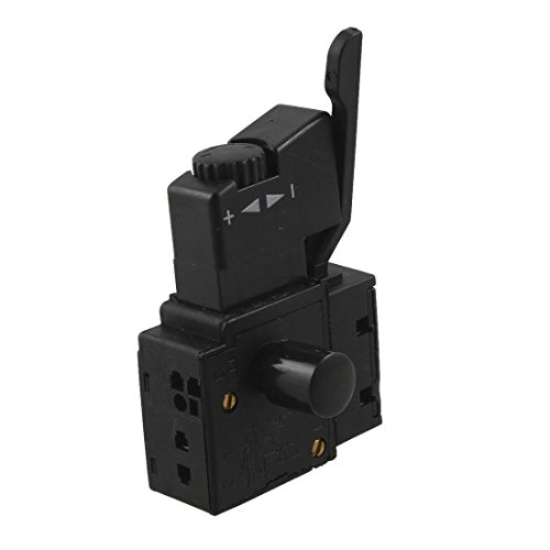 SODIAL(R) FA2-6/1BEK SPST Interruptor del boton del disparador herramienta electrica de bloqueo Negro