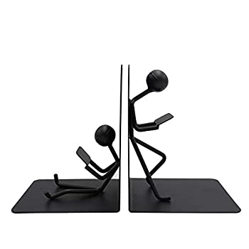 Agirlgle Bookends Decorative Book Ends Metal Black Heavy Duty Man Bookend Studious Reading Book end Bookshelf Decor for Bedroom Library Office School Book Display Desktop Organizer Adults Kids Gift