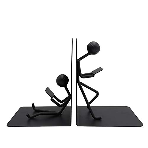 Agirlgle Bookends Decorative Book Ends Metal Black Heavy Duty Man Bookend Studious Reading Book end...