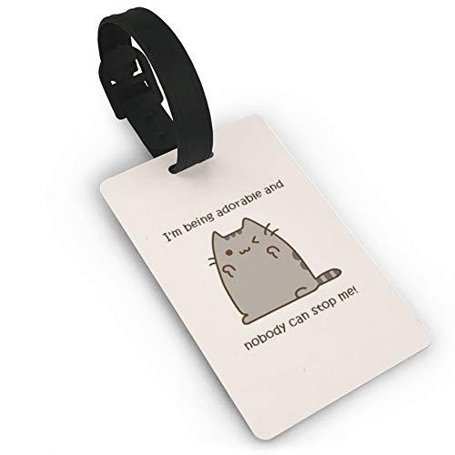 Etiqueta de equipaje adorable Push-EEN Gatos, tarjetas de identificación de anime, etiquetas de viaje para maleta, cajuela, privacidad, moda cubierta nombre ID etiquetas 3.7 x 2.2 pulgadas