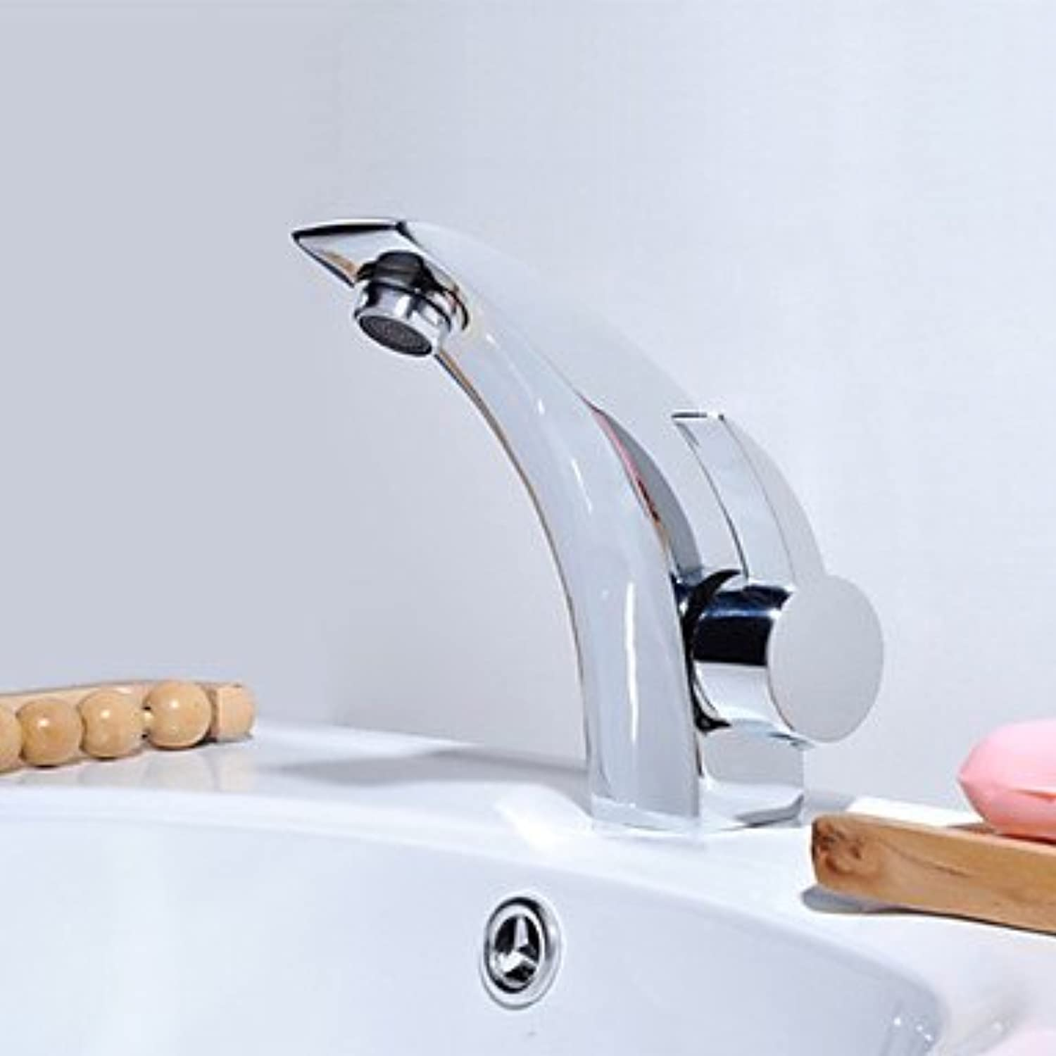 GDS Faucet£? Contemporary Centerset thermostatic valve single lever single hole Chrome and ceramic, bathroom sink faucets