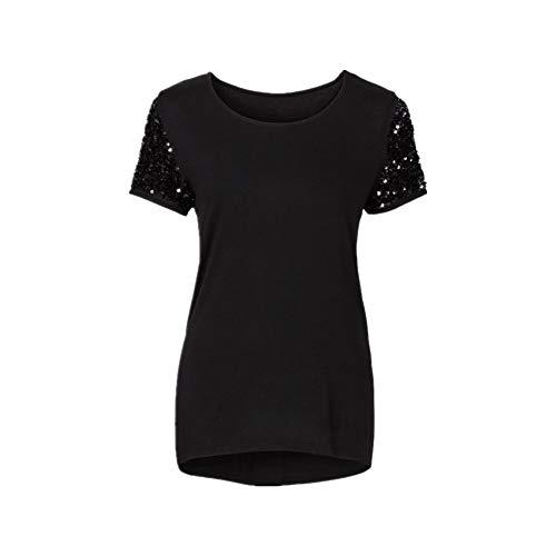 Camiseta de manga corta cosida con lentejuelas sólidas para mujer