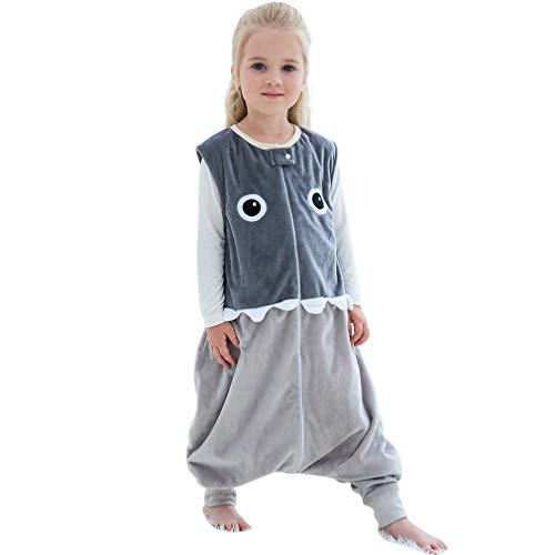MICHLEY Baby Sleeping Bag Sack with Feet Spring Winter Swaddle Wearable Blanket Sleeveless Nightgowns for Infant Toddler, 1-3T, Grey Shark