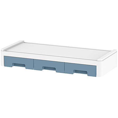 Huante Armarios de teclado de computadora de escritorio Soporte de monitor de computadora de madera Organizador de escritorio con cajones (azul)