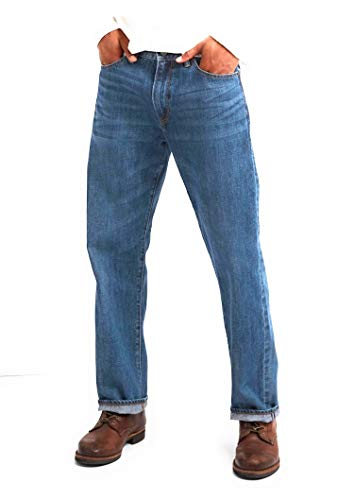 GAP Men's Jeans in Relaxed Fit, Medium Authentic Indigo Wash, Non-Stretch (34x32)