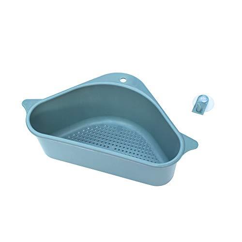 Küchenablaufkörbe Dreieckige Waschbeckensieb Ablauf Gemüse Frucht Saugnapf Schwamm Rack Lagerung Toolsink (Color : Dark Blue)
