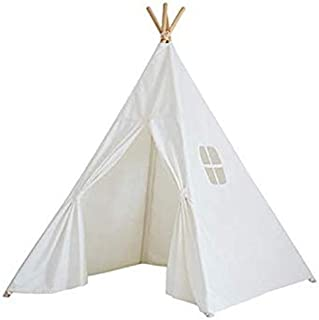 Natural Cotton Canvas Teepee Tent for Kids- White