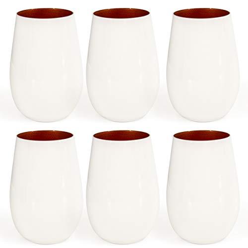 Stölzle (6 Pack) 16.5oz Glisten White Crystal Copper Stemless Wine Glasses Set Of 6 Tumblers Bar Glasses For Drinks