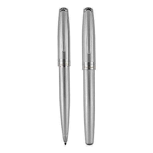 PIERRE CARDIN LAURENCE RB KS - Juego de bolígrafo y bolígrafo de tinta de gel giratorio, color plateado