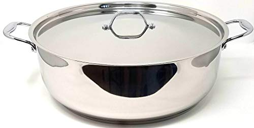 Better Chef BC1901, 19 Quart Giant Extra Large Real All Stainless Steel Bright Mirror Polish Surface for Rice, Sauce, Stew, General Cooking Low Pot Cookware