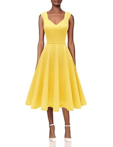 DRESSTELLS cocktailkleider blau Petticoat Kleid Damen Swing Kleid Knielang Polyester Kleider Yellow Size- L