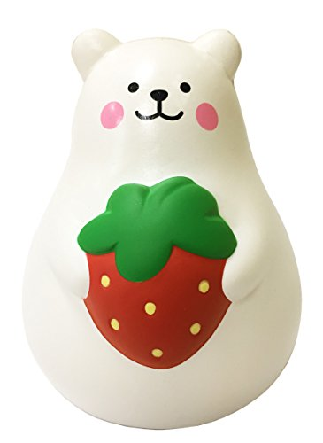 ibloom Marshmallow Bear Mr White Slow Rising Squishy Toy (Red Strawberry, 3 Inch) [Kawaii Squishies for Party Favors, Stress Balls, Birthday Gift Boxes for Kids, Girls, Boys, Adults]