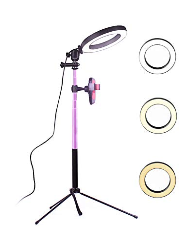 YingnuoST Ring Light with Table Tripod Stand Selfie Stick & Cell Phone Holder Control for Live Stream/Makeup with Three Lights Soft Warm Yellow White 8'' Ring Lamp Selfie Lighting