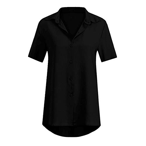 N\P Solid Color Short Sleeve Lapel Women's Shirt Women's Short Sleeve top Women's Casual Shirt Black