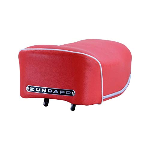 Zündapp zitbank kort rood voor GTS C KS type 517 Export model met zwart embleem en wit koord enkele zitbank