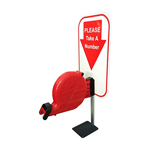 Take-A-Number System Queue Ticket Dispenser Machine with Counter Stand and 1 Queue Roll Queue Tape 2 Digits 2000 Tickets for Queue Call System (red, 2 Digits)